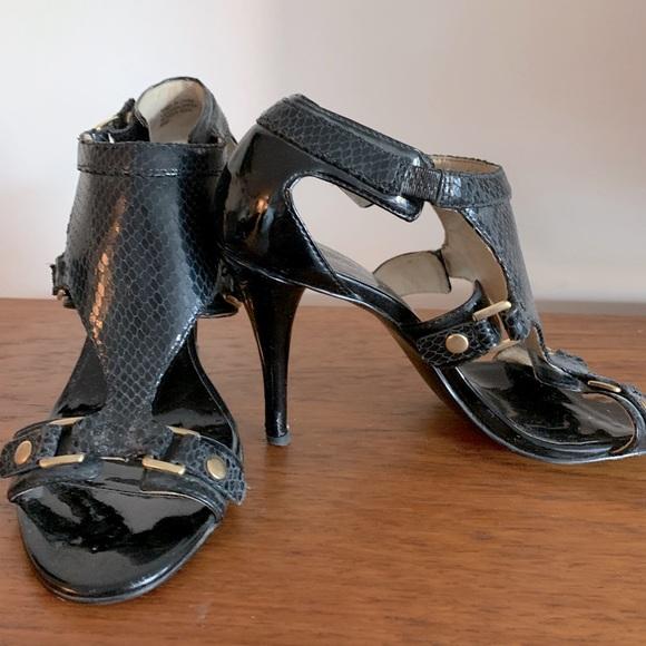 Dark navy faux croc & black paton heels